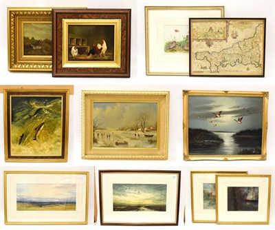 Lot 1016 - A mixed lot of oil paintings, watercolours and prints, to include Frank Graham Noble, chickens,...