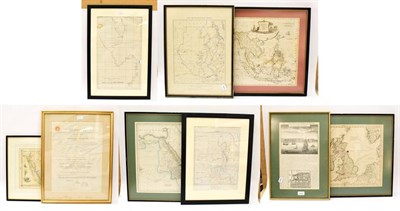Lot 1017 - A quantity of framed and glazed maps to include East Indies, Arabia, Sudan, British Isles, 35cm...