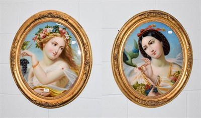 Lot 1019 - A pair of gilt framed reverse paintings on glass, portraits of maidens with fruit, 53cm by 44cm (2)