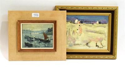 Lot 1022 - Stevens (20th/21st century) Beach scene, 19cm by 24cm, Claude Marin, sailing view, 13cm by...
