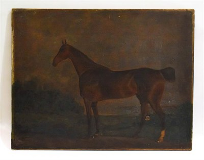 Lot 1023 - English school (19th Century) bay horse in a landscape, oil on canvas, 53cm by 69cm