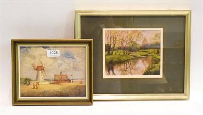 Lot 1028 - Ken Gravelling (20th century) river landscape, oil on board, the river Nadder, Wiltshire,...