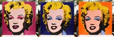 Lot 1031 - After Andy Warhol, three pop art oils of Marilyn Monroe, 90cm by 90cm (3)