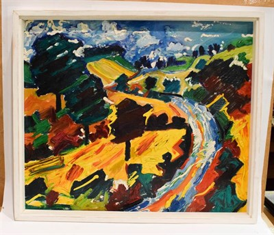 Lot 1032 - P Michael Thompson, Harvest in the Rutland, acrylic on board, 60cm by 70cm