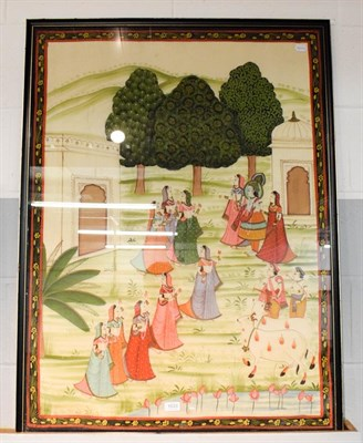 Lot 1033 - A large framed Indian goache picture on silk, depicting a deity and attendants in a landscape,...