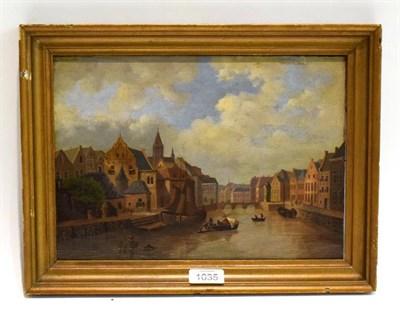 Lot 1035 - Dutch School (19th Century) canal scene, oil on panel, 22.5cm by 32cm