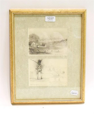 Lot 1037 - Alphonse Perrin (French 1798-1874), Lac du Zurich and a sketch of figures and boats by a shore...