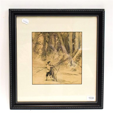 Lot 1038 - Alexander Jamieson (1873-1937) Scottish, figures in a woodland, signed, pen and ink, 24cm by 22.5cm