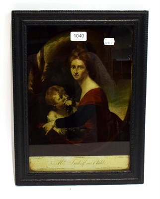 Lot 1040 - An 18th century reverse print on glass, titled 'Mrs Imhoff and child', 36cm by 25cm
