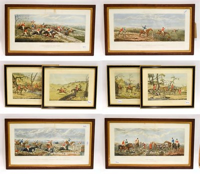 Lot 1045 - A set of John Dean Paul racing and hunting prints, Leicestershire, 33cm by 63cm, together with...