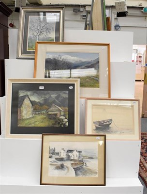 Lot 1046 - A quantity of late 19th / 20th century oils, watercolours and mixed media works, to include...