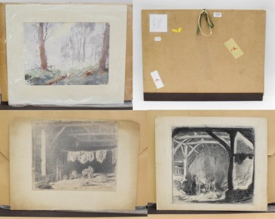 Lot 1047 - George Soper (1870-1942) folio with three works, charcoal and watercolour, interior and...