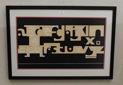 Lot 1050 - Eric Platt, alphabet on board, mixed media, signed and dated 1970, 46cm by 78cm