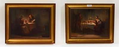 Lot 1055 - Alexander Rosell (1859-1922) Pair of interior scenes, figures by lamplight, oil on canvas,...
