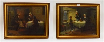Lot 1056 - Alexander Rosell (1859-1922) Pair of interior scenes, figures dining, oils on canvas, signed,...