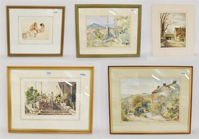 Lot 1057 - Donald Grige, ''Steps and Market Stall'', signed, watercolour, 17cm by 25cm; Ann Haworth,...