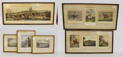 Lot 1058 - Three 19th century equestrian prints, together with three similar topographical prints (6)
