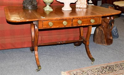 Lot 1075 - A 19th century crossbanded mahogany sofa table, 83cm by 77cm by 70cm high