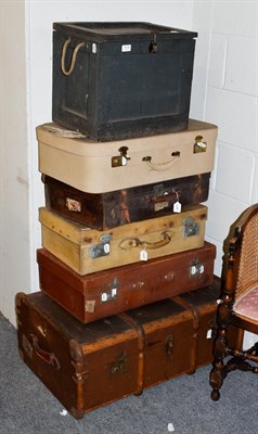 Lot 1078 - A wooden bound trunk, three suitcases and a box (6)