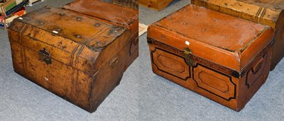 Lot 1082 - A 19th century tole ware tin travel trunk, 76cm by 52cm by 52cm high together with another...