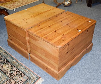Lot 1083 - A pair modern pine blanket boxes, 90cm by 57cm by 56cm high (one slightly lighter in colour)