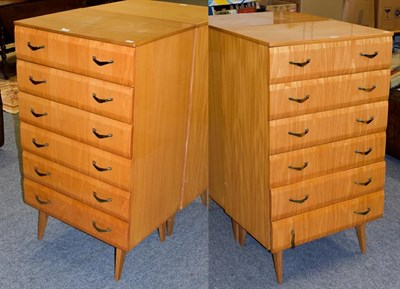 Lot 1084 - A pair of Meredew Furniture retro six-height bedroom chests on splayed supports, 65cm by 46.5cm...