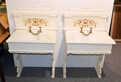 Lot 1085 - A pair of Victorian ladies and gents wash basins on painted cast iron stands with tiles...