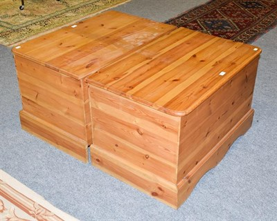 Lot 1086 - A pair modern pine blanket boxes, 90cm by 57cm by 56cm high (2)