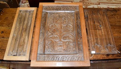 Lot 1093 - Three oak panels, comprising a 17th century unframed panel, 48cm by 23cm, a linenfold panel,...