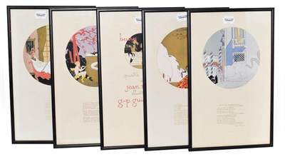 Lot 12 - Pochoir Illustrations Noury (Jean), Heures Galantes, quatre poemes ... illustres par G.-P....