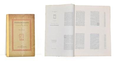 Lot 60 - Pound (Ezra) Indiscretions; or, Une Revue de Deux Mondes, Paris: Three Mountains Press, 1923,...
