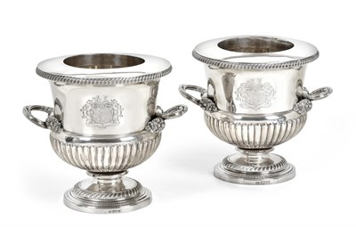 Lot 62 - A Pair of George III Silver Wine-Coolers, Collars and Liners, by Thomas and James Creswick,...