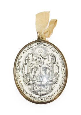 Lot 5 - ~ An English Enamel Double Sided Masonic Plaque, circa 1780, of oval form, both sides printed...