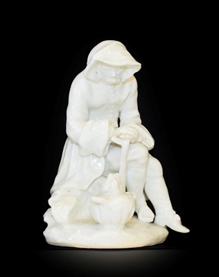 Lot 6 - A Bow Porcelain Figure of Winter, circa 1755, from the Rustic Seasons, modelled as a bearded seated