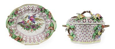 Lot 10 - A Worcester Porcelain Chestnut Basket, Cover and Stand, circa 1770, of lobed oval form with...