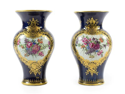 Lot 11 - A Pair of Worcester Porcelain Vases, circa 1770, of baluster form with trumpet necks, painted...