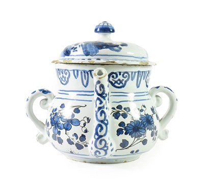 Lot 15 - An English Delft Posset Pot and Cover, probably London or Brislington, circa 1690, of baluster form