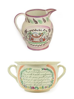 Lot 20 - A Sunderland Lustre Chamber Pot, early 19th century, printed and painted with PRESENT AND...