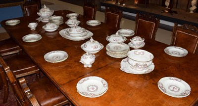 Lot 21 - ^ A Minton Porcelain Dinner Service, circa 1840, painted with flowersprays within gilt scroll...
