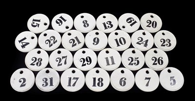 Lot 22 - ~ A Set of Twenty-Eight Creamware Bin Labels, 19th century, of circular form, painted in black with