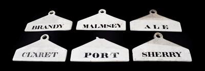 Lot 26 - ~ Six Creamware Bin Labels, 19th century, inscribed in black MALMSEY, ALE, CLARET, BRANDY, PORT and