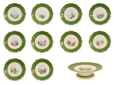 Lot 29 - A Royal Worcester Porcelain Topographical Dessert Service, by Harry Davis, 1900, painted with named