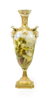 Lot 33 - ^ A Royal Worcester Porcelain Vase, by Frank Roberts, 1911, of slender baluster form with mask...