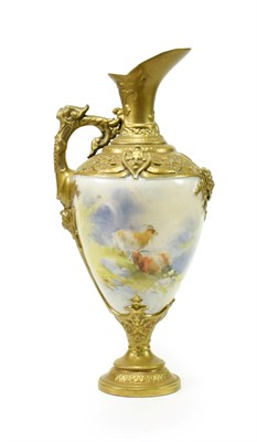 Lot 34 - ^ A Royal Worcester Porcelain Ewer, by Harry Davis, circa 1910, of urn shape with scroll and...