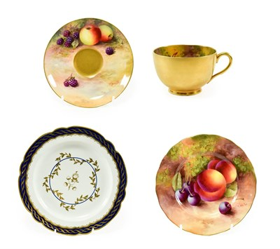 Lot 38 - A Royal Worcester Porcelain Matched Teacup, Saucer and Tea Plate, 1928, 1930 and 1932, painted...