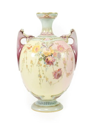 Lot 43 - A Royal Worcester Porcelain Prismatic Enamels Vase, circa 1891, of ovoid form with twin scroll...