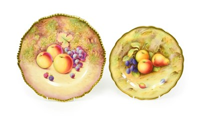 Lot 45 - A Royal Worcester Porcelain Plate, by Albert Shuck, 1925, painted with a still life of fruit on...