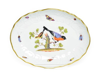Lot 50 - A Meissen Porcelain Oval Dish, late 19th century, painted with exotic birds in branches and...