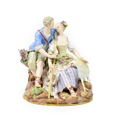 Lot 52 - A Meissen Porcelain Figure Group, circa 1880, as a 18th century lovers sitting on a rocky...