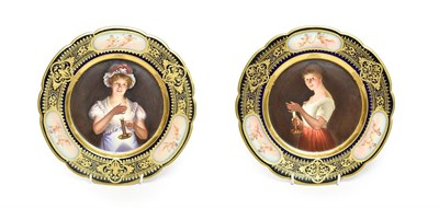 Lot 54 - A Pair of Vienna Style Porcelain Cabinet Plates, circa 1900, painted with ''Gute Nachte'' and...